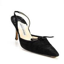 Manolo Blahnik Womens Stiletto Slingback Pumps Black Suede Size 38 8 Ll19ll Photo