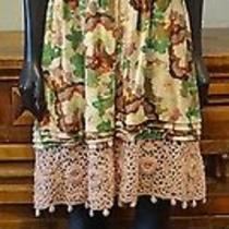 Manoush 8 Bambi Blush Floral Print Crochet Sleeveless Empire Dress Photo