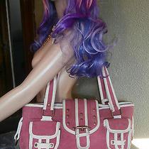 Manoush Le Sportsac Rare Purse Shoulder Bag Pink Canvas Ivory Leather Trim Euc  Photo