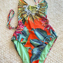 Mara Hoffman One Piece Swimsuit Orange Tropical Print - Size Xs - Tie Back Photo