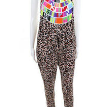 Mara Hoffman Womens Open Back Halter Cheetah Printed Jumpsuit Brown Size Small Photo