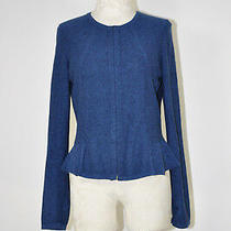Marc by Marc Jacobs Dark Blue Corset Peplum Fitted Sweater Knit Jacket Women L Photo