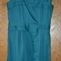 Marc by Marc Jacobs Dark Teal Front Pleated Cotton Dress Back Zipper Sz 10 Photo