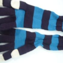 Marc by Marc Jacobs Long Striped Mittens Dark Aqua Multi One Size Nwt Photo