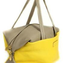Marc by Marc Jacobs New Yellow Brown Colorblock Leather Satchel Tote Bag Handbag Photo