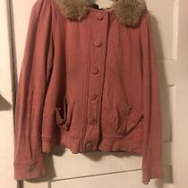 Marc by Marc Jacobs Snap Up Sweater Jacket Blush Pink 100% Cotton Fluff Lining L Photo
