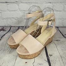 Marc Fisher Suede Leather Cork Wedge Sandals - Rillia - Blush Pink Photo