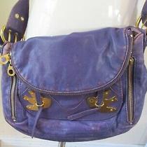 Marc Jabobs Purple Distressed Gold Swallow Soft Leather Purse Handbag     Photo