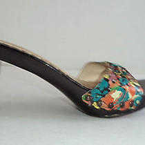 Marc Jacobs Black Lacquer Heels With Colorful Floral Front Slides Shoe - 37 Photo
