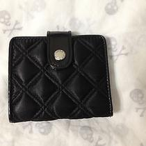 Marc Jacobs Black Satin Bi-Fold Diamond Quilted Tufted Small Wallet Bag Purse Photo