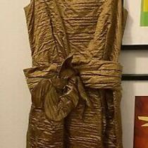 Marc Jacobs Collection Silk Bronze Gold Dress With Flower Belt Size 6 Photo