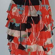 Marc Jacobs Coral Black Chiffon Tiered Layer Tie Back Skirt Sz 4 100% Silk -Euc Photo