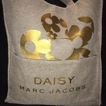 Marc Jacobs Daisy Canvas Burlap Tote Bag Gold Metallic Photo
