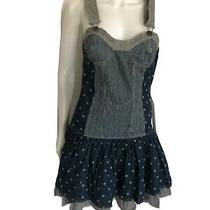 Marc Jacobs Denim Overall Dress Size 2 Blue Dotted 100%Cotton Photo