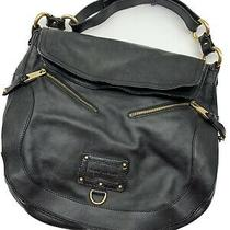 Marc Jacobs Large Leather Classic Black Handbag Hobo Tote Purse W Gold Hardware Photo
