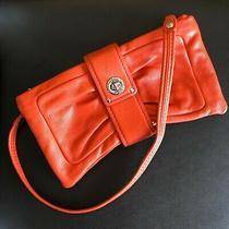 Marc Jacobs Orange Soft Leather Shoulder Bag or Clutch W/ Silver Accents Photo