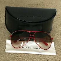Marc Jacobs Red Aviator Sunglasses With Leather Case Mj 016/s E7h Photo