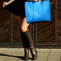 Marc Jacobs Tag Tote Large Blue Leather Shoulder Satchel Hobo Handbag Nwot 395 Photo
