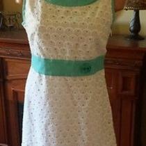 Marc Jacobs White Eyelet Aqua Trim Vintage Style Dress Size 8 Euc Photo