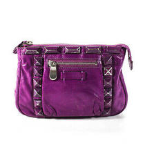 Marc Jacobs Womens Leather Studded Purple Small Clutch Handbag Photo