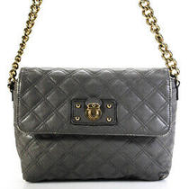 Marc Jacobs Womens Quilted Leather Gold Tone Gray Small Shoulder Bag Handbag Photo