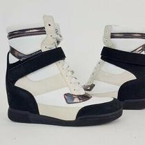 Marc Marc Jacobs Black White Beige Leather Wedge High Top Sneakers Size 38 Photo