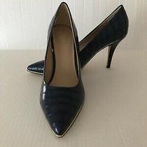 Marc New York Andrew Marc Peggy Nwob 10m Navy Croc Print Pointed Toe Pump Heels  Photo