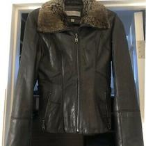 Marc New York by Andrew Marc Women's Leather Shearling Jacket Brown Size Small  Photo