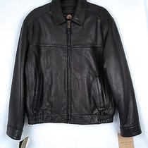 Marc New York Leather Bomber Jacket- Black- Size Medium  798 Photo