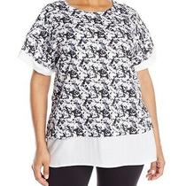 Marc New York Performance Plus-Size Shot Sleeve Faux Two-Fer Pullover  Size 1x  Photo