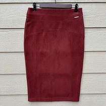 Marc New York Tummy Control Waistband Faux Suede Skirt Size S Maroon Red Photo