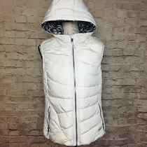 Marc New York Women's Puffer Vest Hooded White Warm Fall Winter Lined Size M Euc Photo