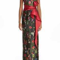 Marchesa Notte Bow Belt Floral Print Column Mikado Gown  Sz 12 Photo