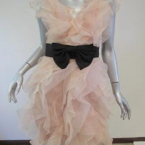 Marchesa Notte Ruffled Bow Belt Dress Blush Pink Size 2 695 Gently Worn Photo