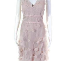 Marchesa Notte Women Sleeveles Metallic Embroidered Cocktail Dress Blush Size 14 Photo