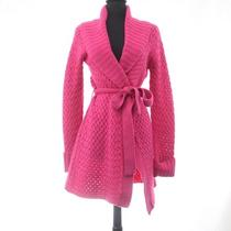 Marciano Guess Size S Hot Pink Knit Wrap Chunky Wool Blend Sweater Coat Cardigan Photo