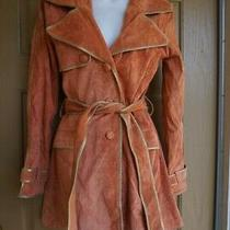 Marciano Guess Womens Double Breast Suede/leather Trench Coat Pumpkin Small Photo