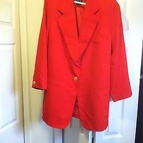 Margaretha Let Red Womens Blazer Coat Size 44 Ellen Tracy Photo
