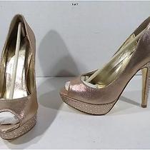 Mariah Carey Womens Blush Satin Peep Toe Stiletto Heels Shoes Size 7.5 Jz4-197 Photo
