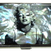 Marilyn Monroe Card Case Business Credit Id Cards Korean Mother of Pearl Unique Photo