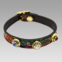 Marino Orlandi Designer Birds of Paradise Painted Leather Swarovski Bracelet Photo