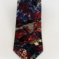 Mario Valentino Italian Silk Necktie Tie Art Design Blue Burgundy Photo