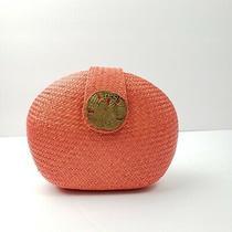 Marjorie Bloom Collection Bantal Half Moon Clutch Purse Handbag Orange Woven Photo