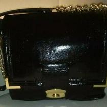 mark.avon Black Sleek Vegan Leather Shoulderbag Purse Handbag Gold Tone Hardware Photo