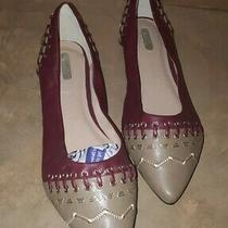 Mark Avon Womens in-Stitches Slip on Flats Burgandy/tan/gold Shoes Sz. 9m New Photo