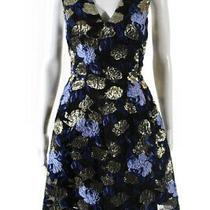 Mark & James by Badgley Mischka Womens Jacquard Swing Dress Blue Gold Size 8 Photo