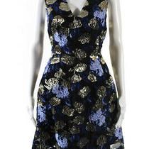 Mark & James by Badgley Mischka Womens Jacquard Swing Dress Blue Gold Size 10 Photo