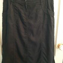 Marks and Spencer Size 14 Navy Blue Linen a Line Midi Skirt Excellent  Photo