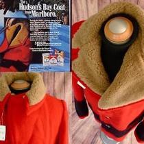 Marlboro Man Hudson Bay Co Nos Wool Shearling 4 Point Blanket Pea Coat Jacket 42 Photo