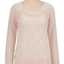 Marled Sleeve Lace Pullover Top Photo
